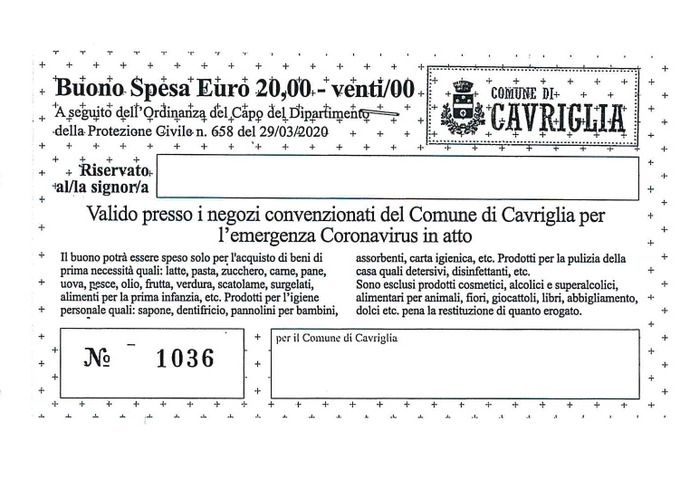 A Cavriglia terza distribuzione dei buoni spesa per fronteggiare l'emergenza economica causata dal Coronavirus, voucher destinati ai cittadini in difficoltà